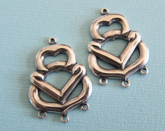 2 Silver Drop Charms 2868