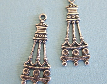 2 Silver Drop Charms 2861