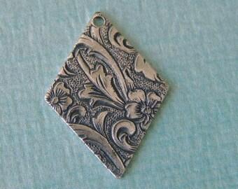 4 Silver Diamond Shape Drop Findings 703