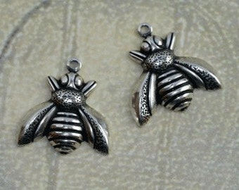 2 Medium Silver Bee Charms 1239