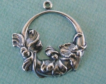 2 Silver Floral Hoop Findings 859