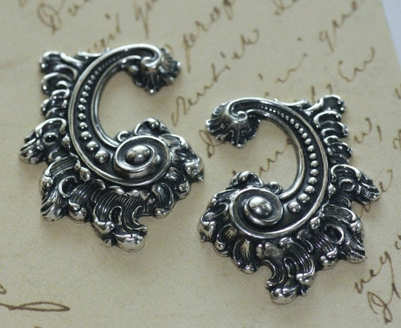 2 Large Silver Ornate Scroll Findings 1605