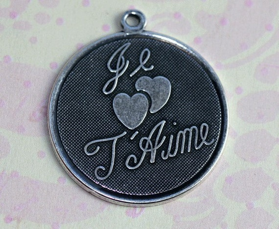 2 Silver Je T'Aime Charms 1251