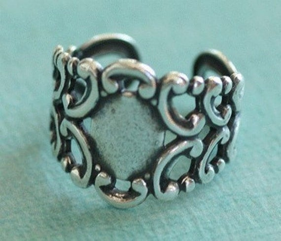 Adjustable Silver Filigree Ring Finding 2078