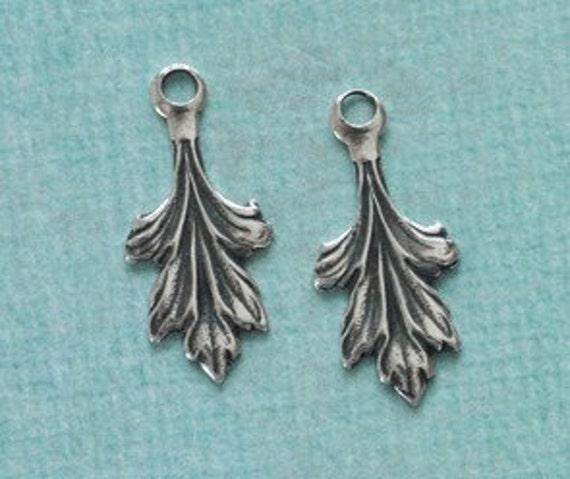 2 Silver Leaf Charms 2554