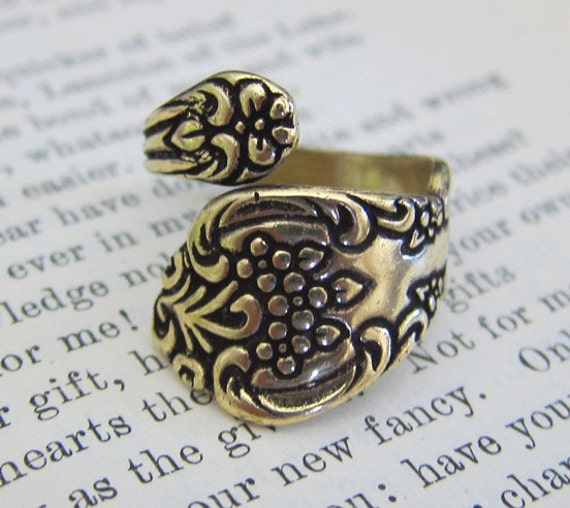 Brass Floral Spoon Ring Finding 2460B