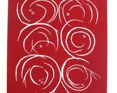 Circles - Original Linocut Print - LIMITED EDITION of 10