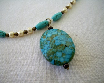 Turquoise Howlite and Glass Bead Necklace