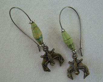 Paper Bead Earrings with Bat Charm Light Green