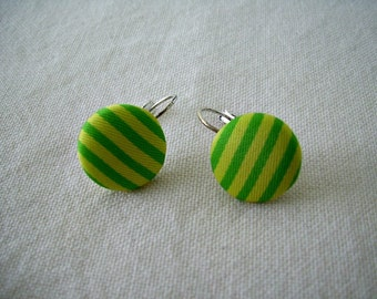 Mod Fabric Button Latch Hook Earrings - Green Stripes