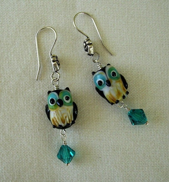 Owl and Crystal Earrings
