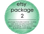 Custom Etsy Shop Package 2: 3 Shop Banners, Avatar, Reserved, Thank You and Facebook Cover Image and Business Card Design + FREE Promo