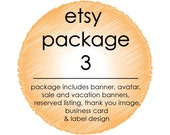 Custom Etsy Shop Graphic Set 3 - 3 Banners, Avatar, Thank You, Reserved, Facebook Images, Business Card Design and Label Design