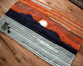 Rocky Mountain Sunset  recycled crochet  rug or Wall hanging   2.6 feet by over 4 feet
