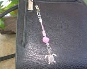 Pinky Rose w\/Turtle Charm Cell Phone\/Purse Dangle