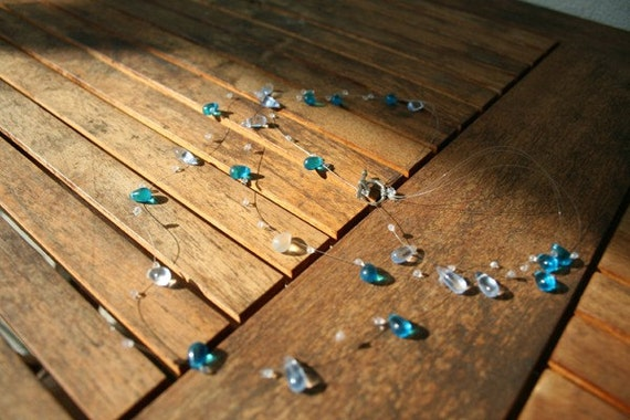 BLUE Raindrop Waterfall Necklace