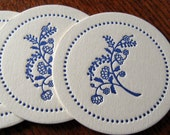 Letterpress Coaster Set - navy flowers