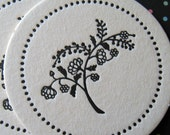 Letterpress Coaster Set - black flowers