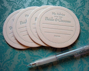 Letterpress Coaster Set - advice for the bride and groom (set of 30)