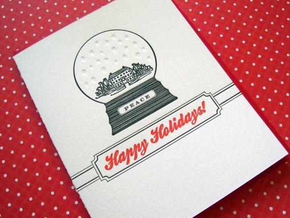 Letterpress Holiday Snow Globe - box of six