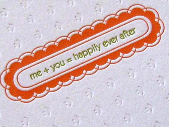 Letterpress Notecards - me plus you