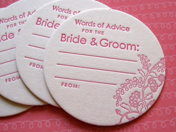 Letterpress Coasters Advice For The Bride And Groom Set Of
