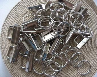 KEY FOB HARDWARE Nickel Rectangular Top - 25 Sets- 1.25""