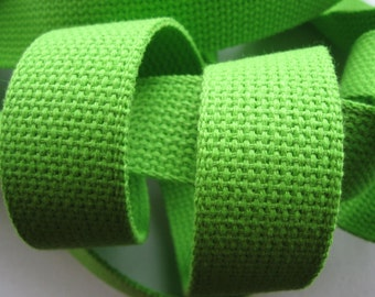 "1.25"" Lime Green Heavyweight Cotton Webbing for Key Fobs Purses"