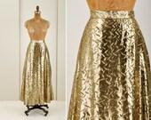 vintage gold lame Halston III skirt