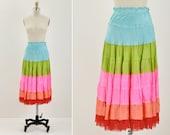 SALE - Colorblock Silk Skirt