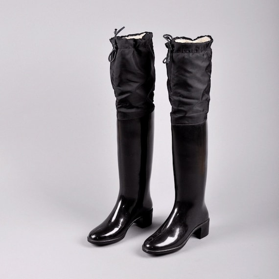 vintage over the knee rubber rain boots us 7    europe 38