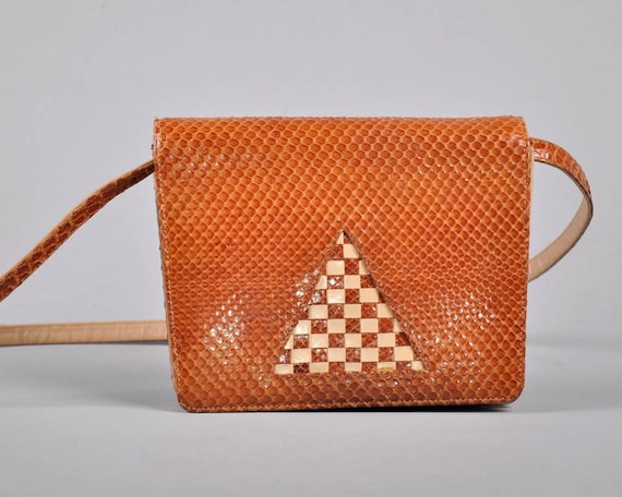 Vintage SNAKESKIN LEATHER ABSTRACT PURSE