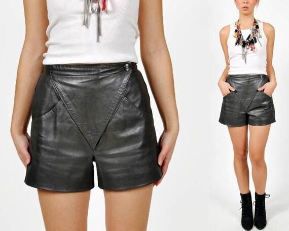 vintage AVANT GARDE grey leather shorts
