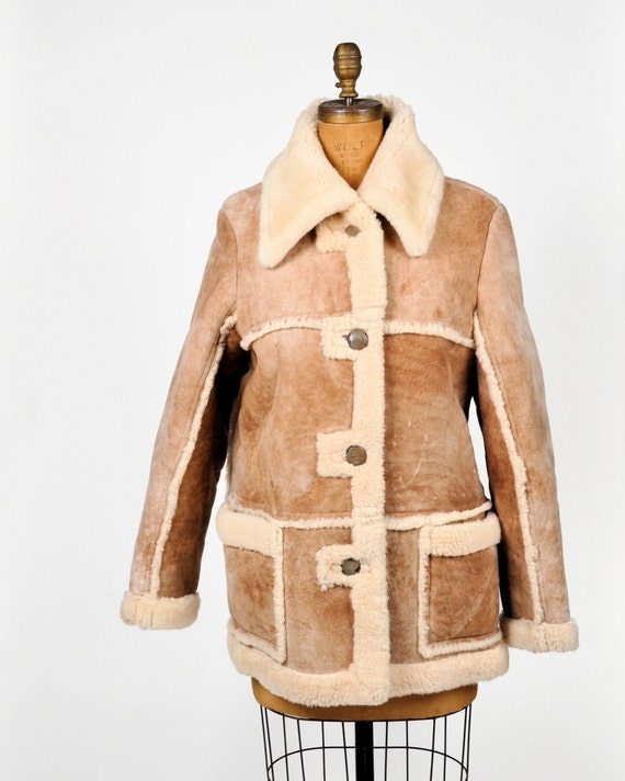 SALE - vintage handcrafted suede SHEEPSKIN COAT