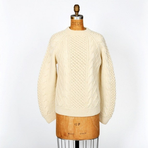 vintage 1950s IRISH FISHERMAN wool knit sweater by maevenvintage