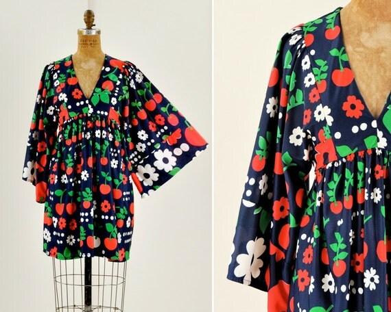mod print dress with huge sleeves