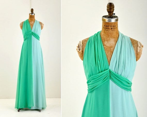 1960s floor length silk gown - two tone green by Elinor Gay