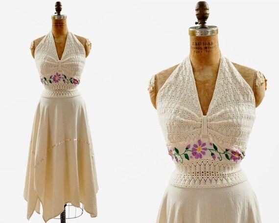 SALE - 70s Cotton Asymmetrical Dress