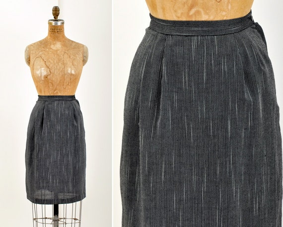 SALE - WOVEN Black and White Pencil Skirt