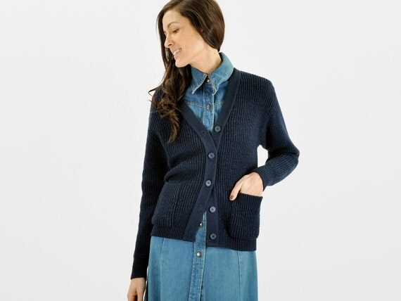 Navy Blue CARDIGAN SWEATER