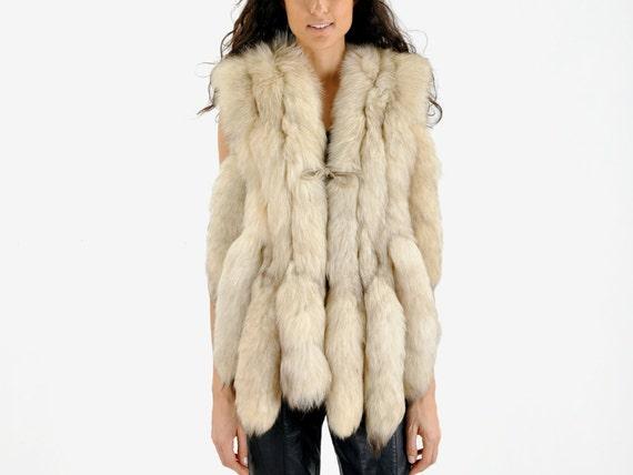 vintage 70s Arctic FOX FUR tails vest