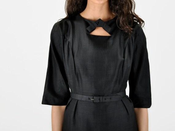 Black TRIANGLE CUTOUT Silk Dress