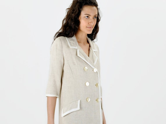 SALE - Nieman Marcus Linen Double Breasted Jacket