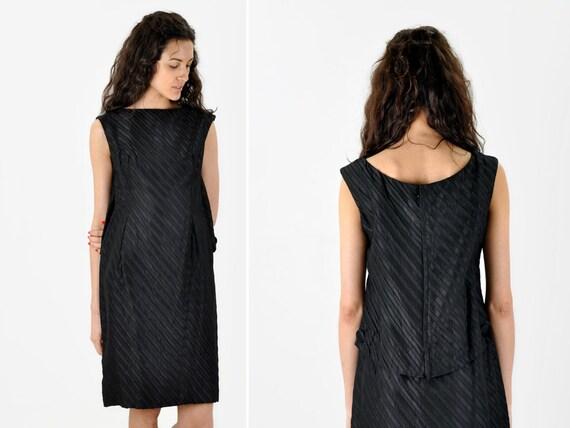 SALE - Vintage DIAGONALLY STRIPED Boatneck Party Dress