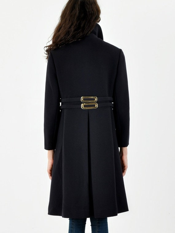 Navy Coat With Back Buckle Detail