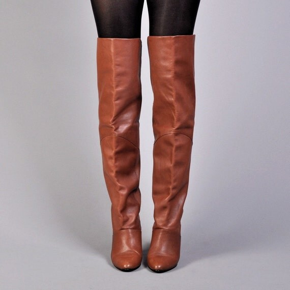 Vintage Brown Leather Over-the-Knee Boots US 6 UK 3.5