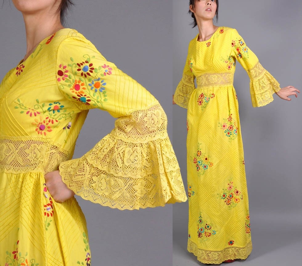 Vintage embroidered mexican wedding dress for Mexican wedding dresses for sale
