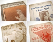 """Lot of four 11"""" x 14"""" Sheet Music from the Early 20th Century"""