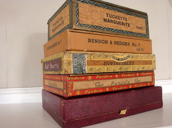 Instant collection of Vintage Canadian cigar boxes - Tucketts, Benson & Hedges, Pandora, Rob Burns, Invincibles