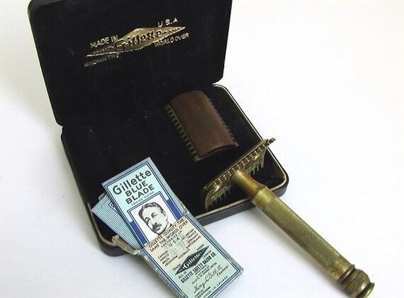 1920's Antique Gold Tone Gillette Razor Set with blue blades in box
